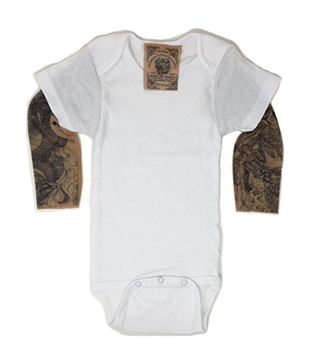 Wild Rose Tattoo Sleeve Baby One-Piece Shirt, White, Grim Reaper/Frankenstein, 3-6 Months -
