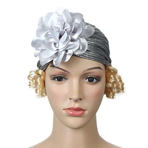 Pile Hoop - Women's Hats, Iuhan Women Retro Big Flowers Hat Turban Brim Hat Cap Pile Cap (Silver)