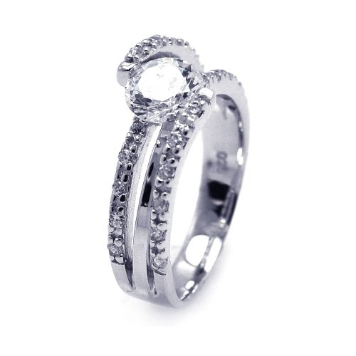 (Princess Kylie Round Center Cubic Zirconia Tension Set Ring Rhodium Plated Sterling Silver Size 8)