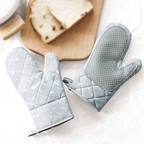 JS Oven Mitts Heat Resistant - 1 Pair of Silicone Non-Slip Cute Oven Gloves with Soft Cotton Lining and a Convenient Hanging Buckle, Great for BBQ, Oven, Kitchen Cooking, Baking, and Grill