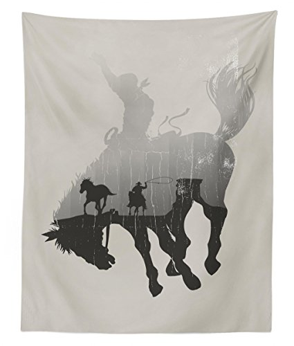Lunarable Western Tapestry Twin Size, Western Theme Cowboy Chasing Wild Horse in The Desert Rodeo Cowboy Theme, Wall Hanging Bedspread Bed Cover Wall Decor, 68 W X 88 L inches, Pale Grey Dark Green