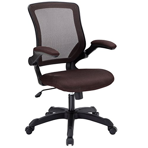 Modway Veer Office Chair with Mesh Back and Brown Vinyl Seat With Flip-Up Arms - Ergonomic Desk And Computer Chair