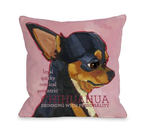 One Bella Casa Chihuahua 2 Throw Pillow, 16 by 16-Inch (Home Bella Decor)