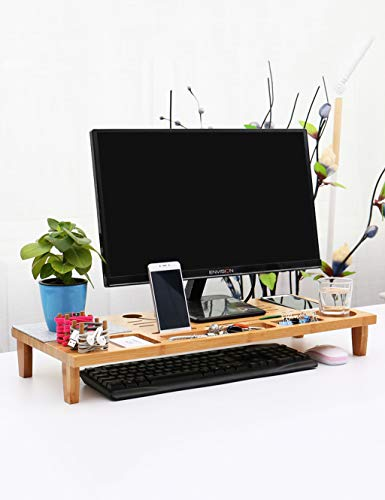 - PIPIXIA Display Stand Desktop Lifter with Pull-Out Storage Drawer - Bamboo Desktop Lifter for Computers, Laptops, Printers - Suitable for Most Computer Brands