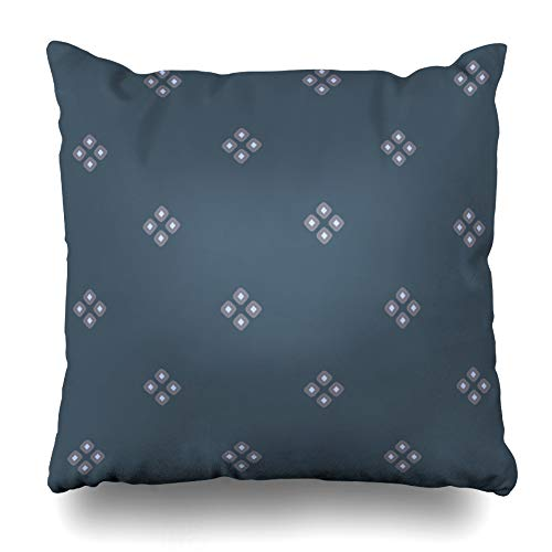 Ahawoso Throw Pillow Cover Square 16x16 Inches Check Blue Batik Diamond Indigo Simple American Dutch Gray Painting Border British Countryside Heather Cushion Case Home Decor Pillowcase ()