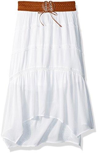 (Amy Byer Girls' Big Gauze Skirt with Belt, Ivory, M)