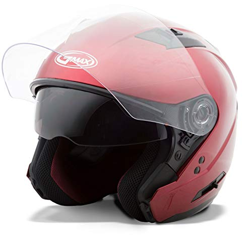Gmax OF77 unisex-adult open-face-helmet-style Motorcycle Street Helmet Solid (Candy Red,Large),1 Pack