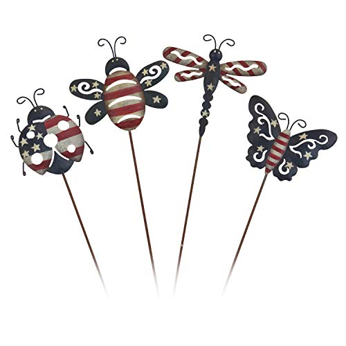 OBI Mini Insect Metal Garden Stakes Set of 4 - Bee, Dragonfly, Butterfly, and Lady Bug Silhouette Picks Americana Patio Decor Party Supplies for Outdoor Yard Decorations ()