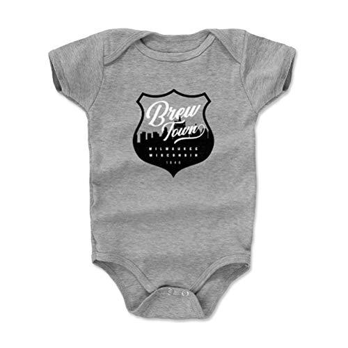 Milwaukee Baby Clothes, Onesie, Creeper, Bodysuit - 6-12 Months Heather Gray - Milwaukee Wisconsin Brew Town WHT