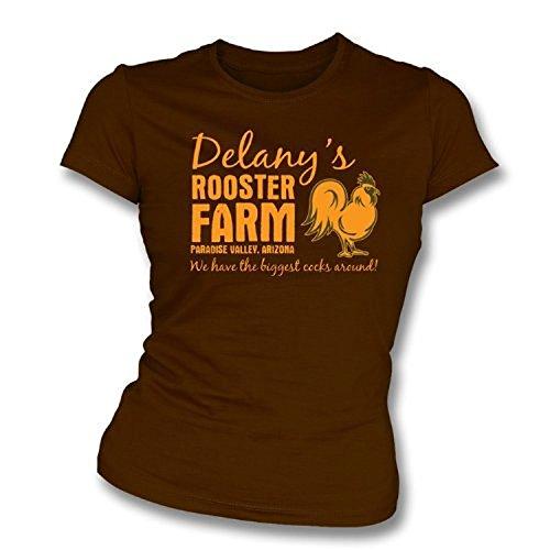 TshirtGrill Delanys Hahn-Farmmädchen slimfit T-Shirt, Farbe- Brown