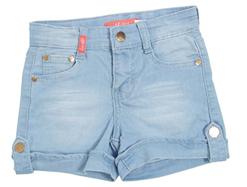 Fashion2Love 7H091(SH) - Girls' Stretch 5 Pockets Cargo Design Denim Jeans Shorts in Light Blue Size 6X
