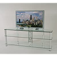 RTA Home and Office TVM-060 Tempered Glass and Aluminum TV Stand with Wire Management for a 60 TV