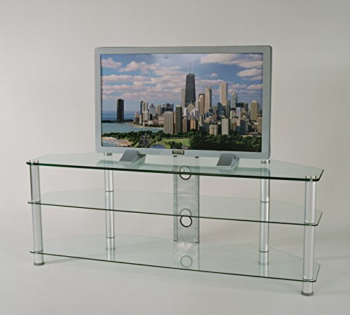 RTA Home and Office TVM-060 Tempered Glass and Aluminum TV Stand with Wire Management for a 60