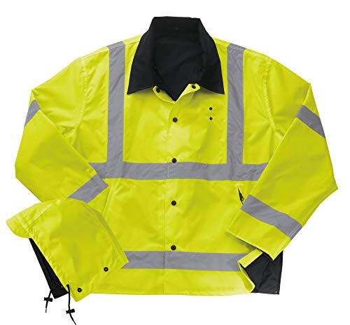Liberty Uniform Class 3 ANSI Compliant Hi-Visibility Reversible Police Rain Jacket with Hood | Reflective Safety Jacket | Uniform Apparel ()