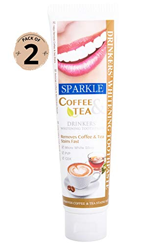 Kuron Store SPARKLE Coffee Tea Caffeine Smoke Remove Yellow Stain Whitening Fresh Healthy Gum Reduce Breath No Fluoride Sensitive Paraben SLS Free Oral Care Teeth Tooth Toothpaste, 50 g / 2 Pack Count