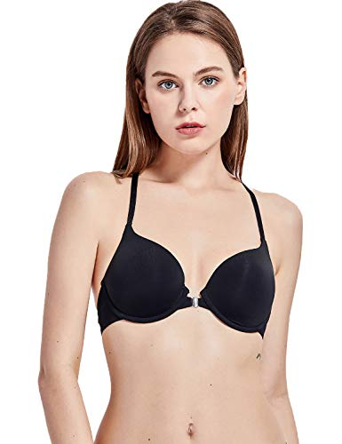 DOBREVA Women's T-Shirt Front Close Underwired Lined Push Up Bra Plunge Black_Y Back 34C