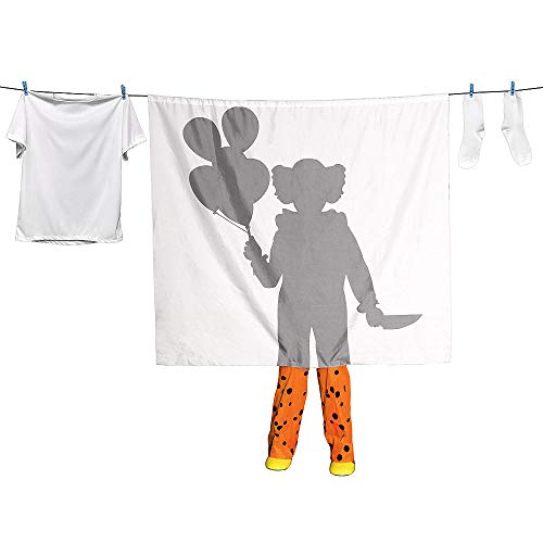 Scary Clown Halloween Decoration - Clown Laundry Line Silhouette Lifesize ()