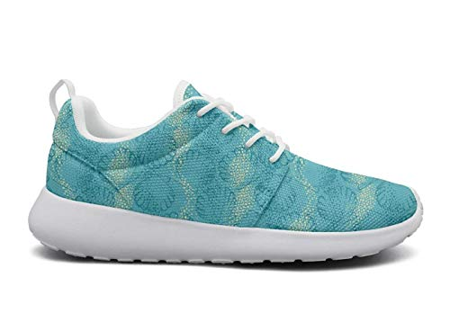 LOKIJM Blue Seashell Printed White Boy Sneakers for Men News Breathable and Lightweight Air Running Shoes
