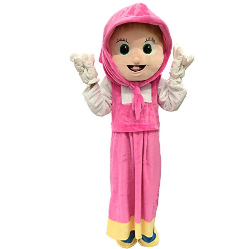 Funny Toys Performance Clothes Halloween Christmas Carnival Party Cosplay Mascot Costumes for Advertising Customized Suitable for Adults (fits for 160cm-180cm Tall, Masha and The Bear Pink) ()