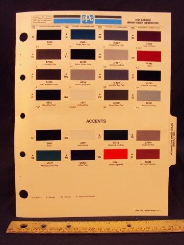 1995 95 HYUNDAI IMPORT Elantra, Scoupe, & Sonata Paint Colors Chip Page
