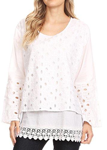 Sakkas 17003 - Ayperi Womens Eyelet Embroidered Round Neck Cotton Basic Blouse Top Tunic - White - M