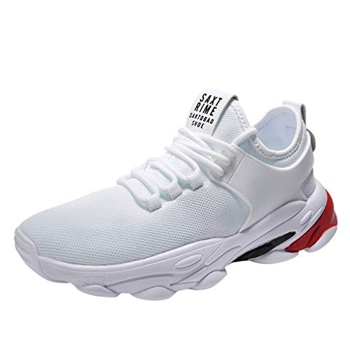 Yucode Mens Breathable Running Shoes Slip On Fashion Sneakers Lightweight Athletic Tennis Sport Walking Shoes White