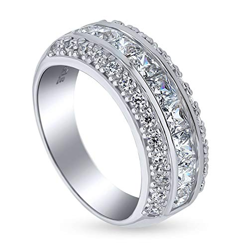BERRICLE Rhodium Plated Sterling Silver Channel Set Princess Cut Cubic Zirconia CZ Half Eternity Ring Size 7 ()