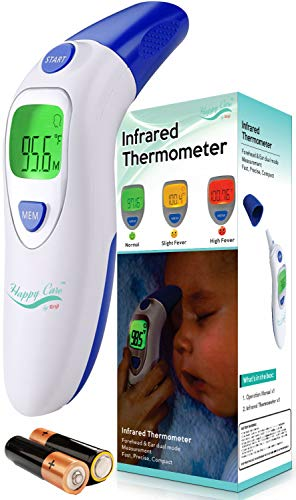 Baby, Childrens, Adult Ear and Forehead Digital Thermometer - Temporal Electronic Infrared, Dual F & C Temperature Mode, Fast 1 Second Read, for Infants, Babies, Kids & Adults, Ear Termometro