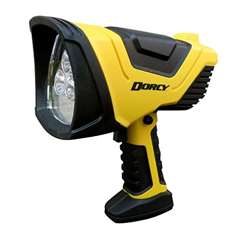 Dorcy 750-Lumen Rechargeable Pistol-Grip LED Spotlight with Trigger Lock Switch and AC/DC Adapters, Yellow - 750 Lumens Led Flashlight