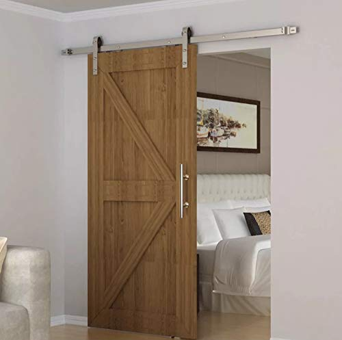 SEIDO Heavy Duty 10 Inches Pull and Flush Barn Door Handles Set, Large Rustic Two-Side Design, for Gates Garages Sheds Furniture, Satin Stainless Steel Finish, Round by SEIDO (Image #4)