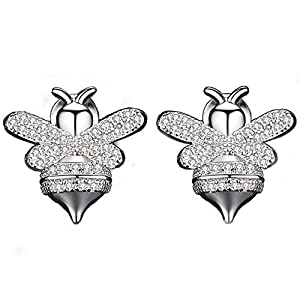 Cubic Zirconia Stud Earrings Jewelry -18k White Gold Plated Gold Honeybee CZ Stud Earrings, Perfect for Daily Wear (siliver Honeybee Earrings)