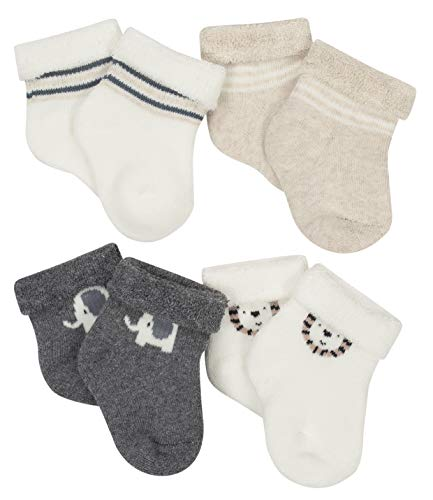 (Gerber Newborn Baby Boy Wiggle Proof Stay On, Organic Cotton Ankle Bootie Sock, 4-Pack)