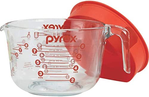Pyrex Prepware 8-Cup Measuring Cup Clear with Red Lid and Measurements 8 Cup