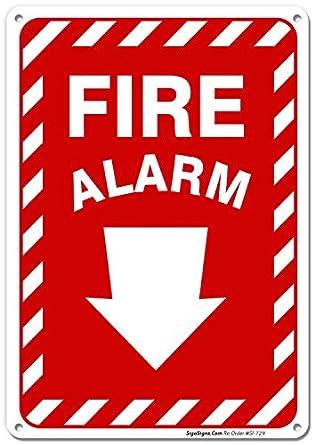 Cartel grande de alarma contra incendios con flecha, 10 x 7 ...