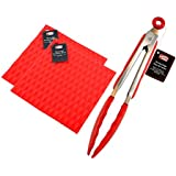Non-Slip and Non-Stick Cooking Tongs, Silicone Tips and Locking Head - Silicone Pot Holder Jar Opener, Trivet Mat, Spoon Rest, Garlic Peeler - Heat Resistant up to 428ºF. By Ai-De-Chef (3-Pack, Red)