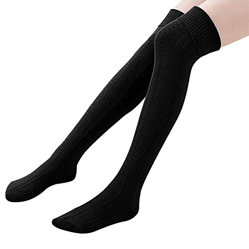 HITOP Womens Spring Over Knee Leg Warmer Crochet Thigh High Boot Socks Girls Leggings (Black) from HITOP