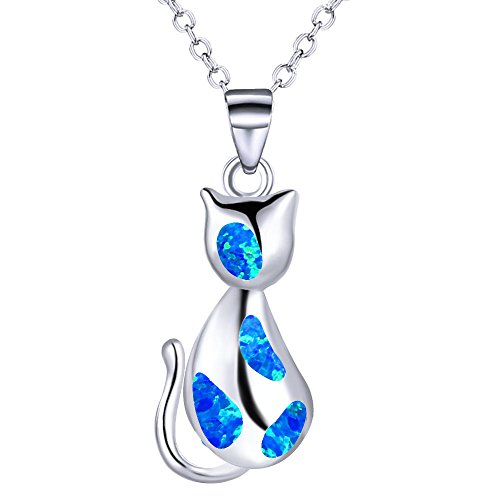 KELITCH 925-Sterling-Silver Chain Cat Pendant Necklace Inlay Blue - Inlay Synthetic Blue Opal