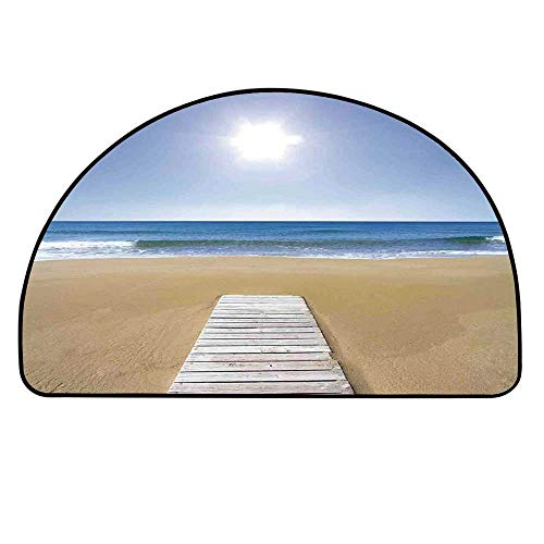 - YOLIYANA Art Doormat,Wooden Deck on Golden Sandy Beach with Sky Landscape and Sun Shine Wave Sea Print Entryway Mat,17.7
