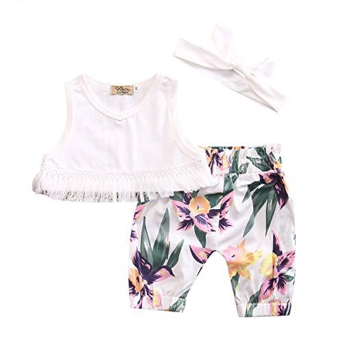 Cute Newborn Girl Clothes Summer Sleeveless Tassel Harvest Tops Vest +Floral Imprinted Pant Trouser Children Clothes Set Full Moon Present