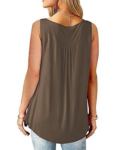Chemise Col Femme t V Mode Bouton Sans Plier Tops Manche Tomwell Marron Manches Blouse lgant Z Courte Chic Casual Lache vqw4CY