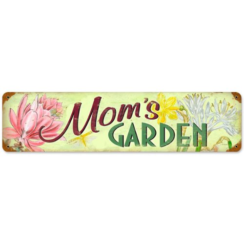 Mom's Garden Flowers Wide Distressed Vintage Metal Sign 20 x 5 (Tin Flowers Round Colorful)