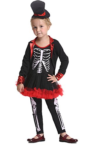 [Girlscos Girls Kids Halloween Skeleton Suit Costume 4 sets Large Black] (Little Girl Skeleton Costumes)