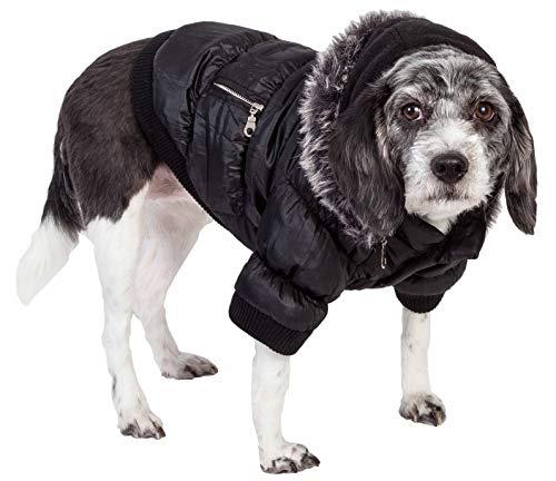 PET LIFE Classic Metallic Fashion Pet Dog Coat Jacket Parka w/ 3M Insulation and Removable Hood, Large, Jet Black (Dog Parka)