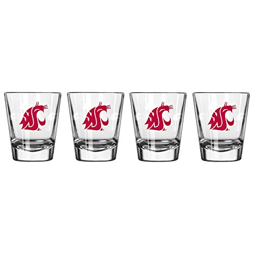 - NCAA Washington State Cougars Satin Etch Shot Glass, 2-ounce, 4-Pack