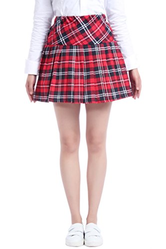 [Lemail Wig Red Pleated Plaid Skirt for School Womens Printed Skirt L GC41C-L-3] (Preppy School Girl Costumes)