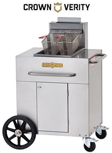Crown Verity Propane Tanks - Crown Verity CVPF1 Portable Single Tank Fryer Liquid Propane with 90000 BTU Capacity Two 14