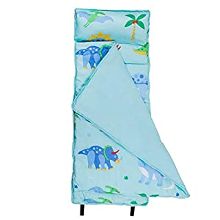 Wildkin Microfiber Nap Mat with Pillow for Toddler Boys and Girls, Measures 50 x 20 x 1.5 Inches, Ideal for Daycare and Preschool, Mom's Choice Award Winner, BPA-Free, Olive Kids (Dinosaur Land)