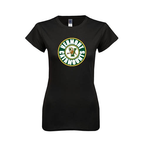 Vermont Ladies Softstyle Junior Fitted Black Tee 'Vermont Catamounts Circle'