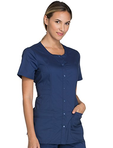 Cherokee Core Stretch Workwear Women's Round Neck Solid Scrub Top Medium Navy by Cherokee (Image #1)
