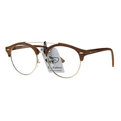 Mens Retro Hipster Half Horn Rim Clear Lens Eyeglasses Light Wood - Glasses Round Hipster